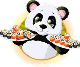 Panda holding sushi food vector