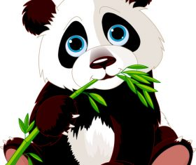 Panda sitting on the ground eating bamboo   vector