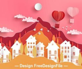 Paper cut draw cute city vector