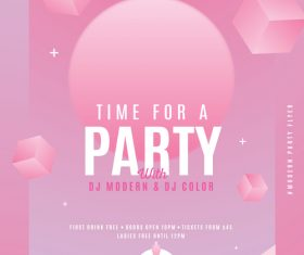 Party flyer psd pink template