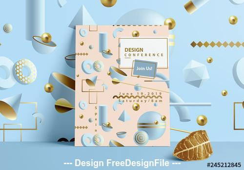 Pastel flyer with sbstract 3D patterns vector