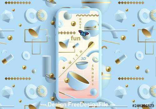 Pastel social media layouts with abstract 3D Patterns vector