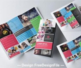 Photography trifold brochure template vector