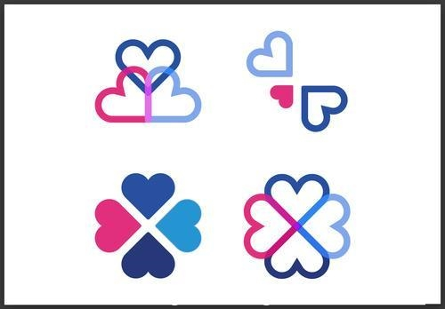 Pink and blue hearts icon set vector