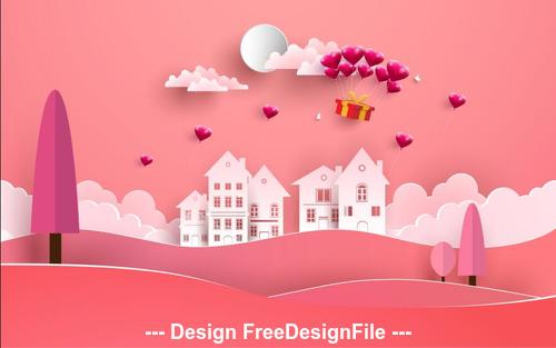 Pink background happy valentines day vector