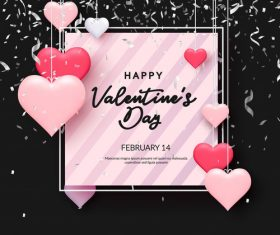 Pink heart and confetti valentines day greeting card vector