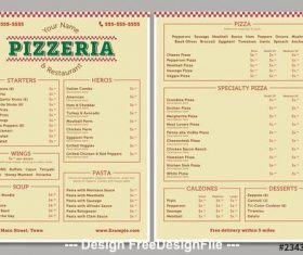 Pizzeria menu layout vector