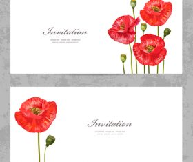 Poppy flower background invitation card vector