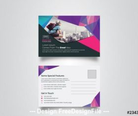 Postcard layout with geometric elements vector