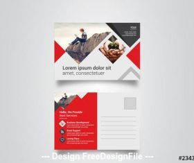 Postcard layout with red elements vector