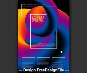 Poster colorful 3D tube element vector