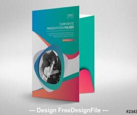 Presentation folder layout with pink and teal gradients vector