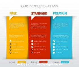 Price chart layout vector