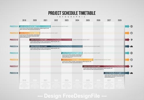 Project schedule table infographic vector