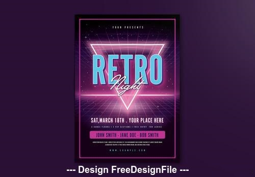 Purple neon retro event flyer vector