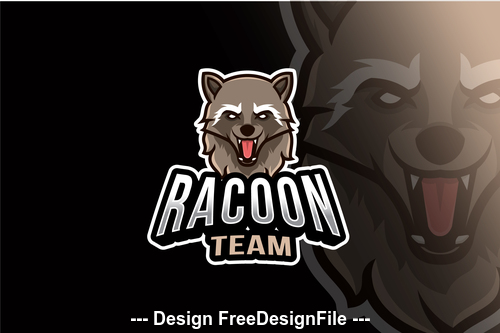 Racoon team esport logo template vector