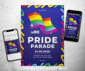 Rainbow event flyer vector