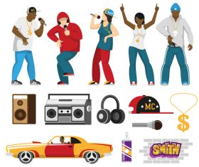Rap cultural elements vector
