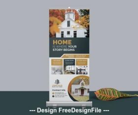 Real estate agency roll-up banner vector