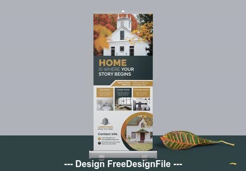 Real estate agency roll up banner vector