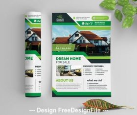 Real estate business flyer vector