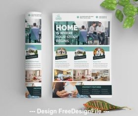 Real estate flyer teal vector