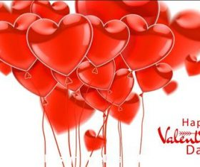 Realistic glossy heart balloons vector