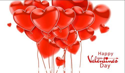 Realistic glossy heart balloons vector