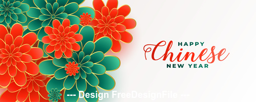 Red and green background chinese new year greeting card vector