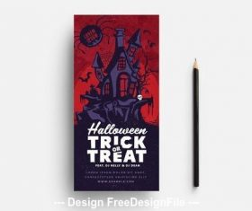 Red halloween card haunted house vector