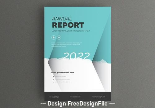 Report cover teal and white background vector