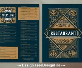 Restaurant menu ornamental vector