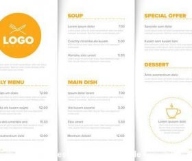 Restaurant orange menu elements vector