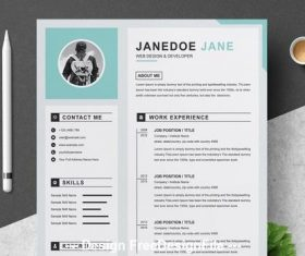 Resume and cover letter layout with gray and sky blue vector