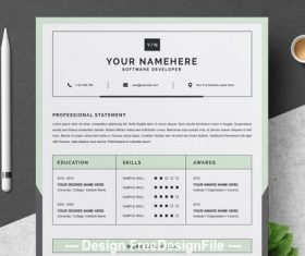 Resume and cover letter layout with green vector