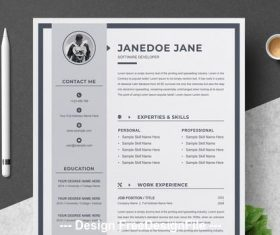 Resume and cover letter with gray sidebar vector