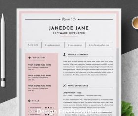 Resume and cover with pink vector