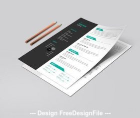 Resume layout set with teal tab elements vector