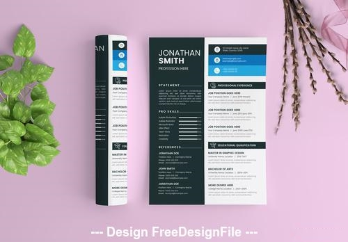 Resume layout with dark gray and white vector