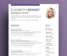 Resume layout with purple vector