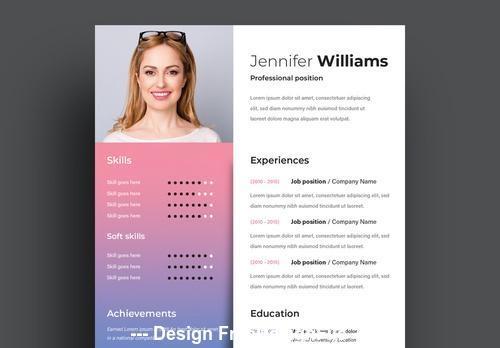 Resume pink blue gradient vector