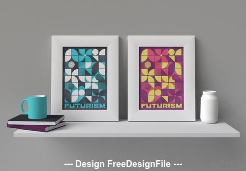 Retro geometric poster vector