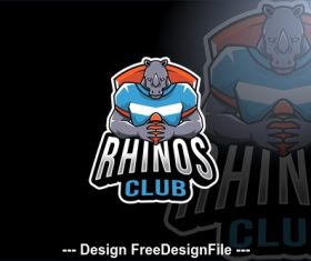 Rhinos club sport logo template vector