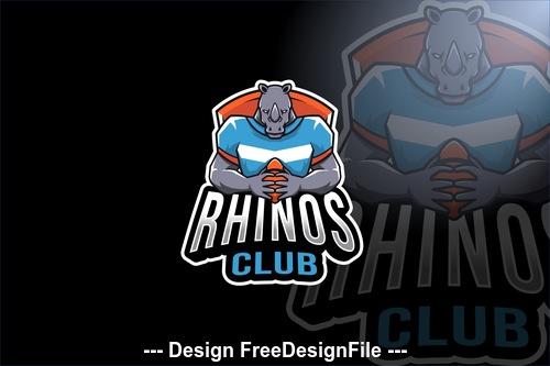 Rhinos club sport logo template vector