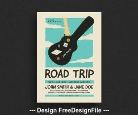Road trip gigs event flyer vector