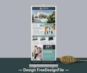Roll-Up banner layout with teal vector