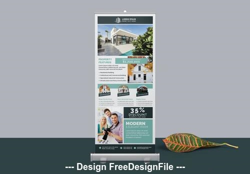 Roll Up banner layout with teal vector
