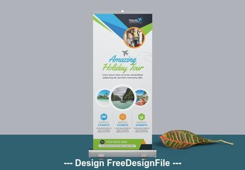 Roll up banner with blue and green vector