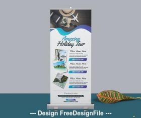 Roll up banner with blue gradient elements vector