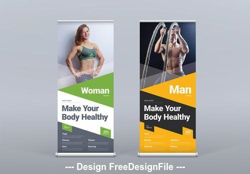 Roll up banner with colored triangle designs vector